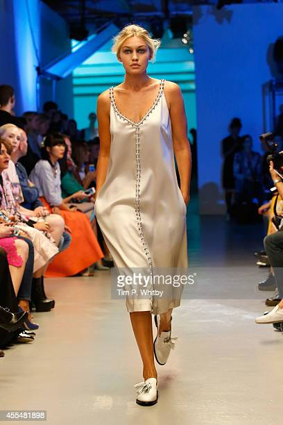 Model Gigi Hadid walks the runway at the GILES show during London Fashion Week Spring Summer 2015 on September 15 2014 in London England