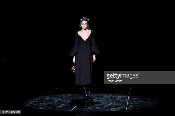 Model Gigi Hadid walks the runway at the Marc Jacobs fashion show during New York Fashion Week on February 13 2019 in New York City