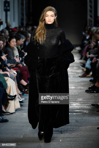 Model Gigi Hadid walks the runway at the Max Mara show during Milan Fashion Week Fall/Winter 2017/18 on February 23 2017 in Milan Italy