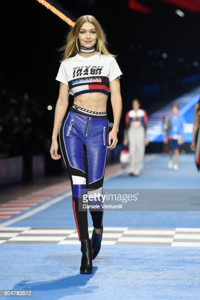 A model Gigi Hadid walks the runway at the Tommy Hilfiger show during Milan Fashion Week Fall/Winter 2018/19 on February 25 2018 in Milan Italy