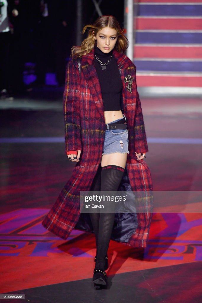 Model Gigi Hadid walks the runway at the Tommy Hilfiger TOMMYNOW Fall 2017 Show during London Fashion Week September 2017 at the Roundhouse on September 19, 2017 in London, England.