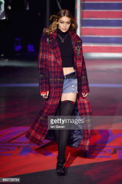 Model Gigi Hadid walks the runway at the Tommy Hilfiger TOMMYNOW Fall 2017 Show during London Fashion Week September 2017 at the Roundhouse on...