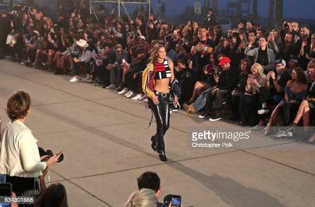 Model Gigi Hadid walks the runway at the TommyLand Tommy Hilfiger Spring 2017 Fashion Show on February 8 2017 in Venice California