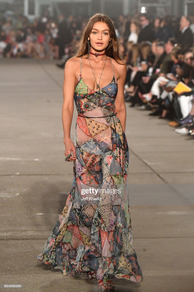 Model Gigi Hadid walks the runway at the TommyLand Tommy Hilfiger Spring 2017 Fashion Show on February 8, 2017 in Venice, California.