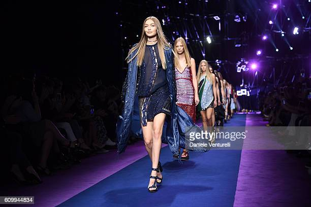 A model Gigi Hadid walks the runway at the Versace show during Milan Fashion Week Spring/Summer 2017 on September 23 2016 in Milan Italy