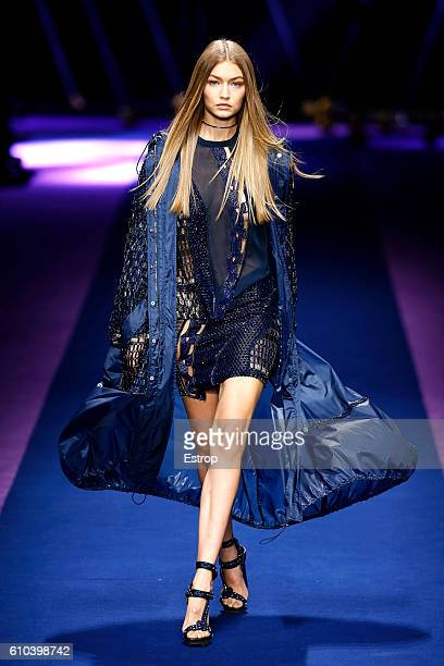 Model Gigi Hadid walks the runway at the Versace show Milan Fashion Week Spring/Summer 2017 on September 23 2016 in Milan Italy