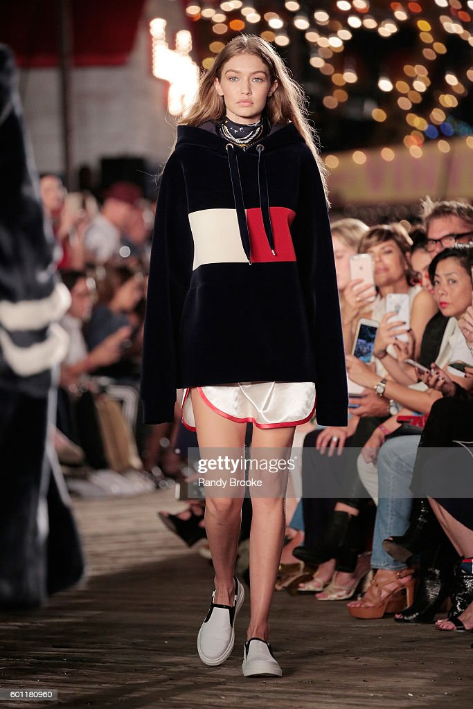Model Gigi Hadid walks the runway at #TOMMYNOW Women's Fashion Show during New York Fashion Week at Pier 16 on September 9, 2016 in New York City.