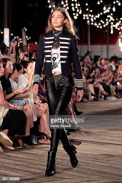 Model Gigi Hadid walks the runway at #TOMMYNOW Women's Fashion Show during New York Fashion Week at Pier 16 on September 9 2016 in New York City