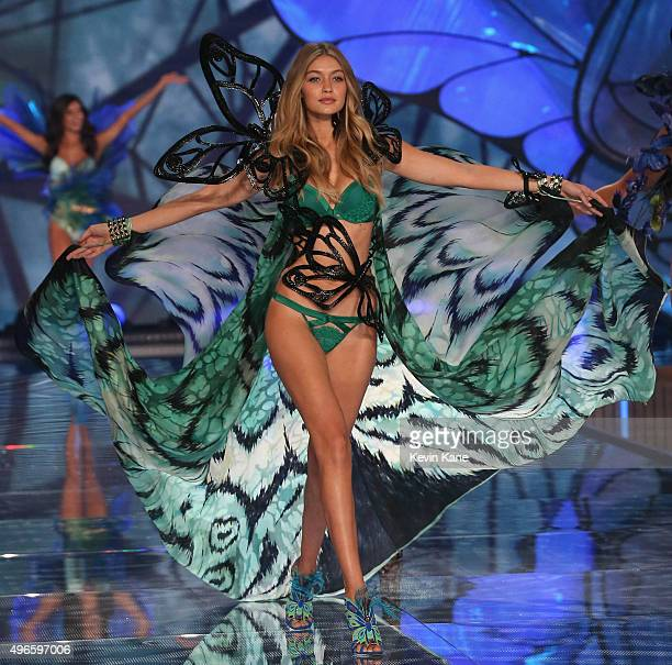 Model Gigi Hadid walks the runway during the 2015 Victoria's Secret Fashion Show at Lexington Armory on November 10 2015 in New York City