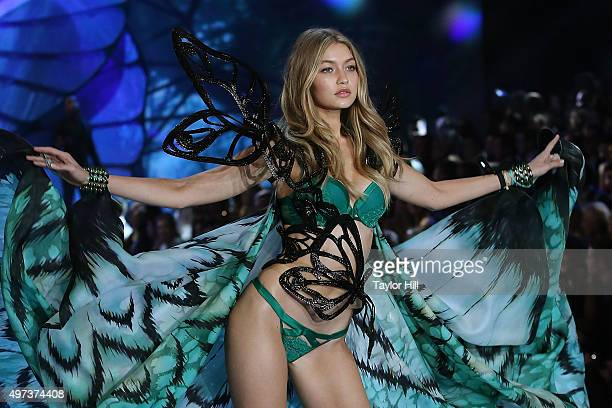 Model Gigi Hadid walks the runway during the 2015 Victoria's Secret Fashion Show at Lexington Avenue Armory on November 10 2015 in New York City