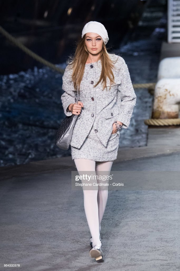 Model Gigi Hadid walks the runway during the Chanel Cruise 2018/2019 Collection at Le Grand Palais on May 3, 2018 in Paris, France.
