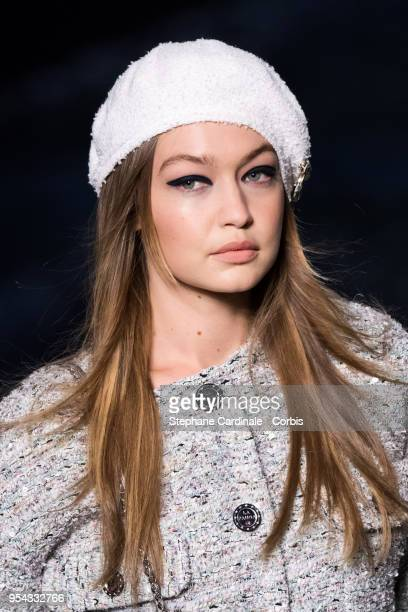 Model Gigi Hadid walks the runway during the Chanel Cruise 2018/2019 Collection at Le Grand Palais on May 3 2018 in Paris France