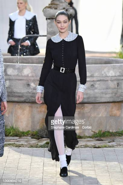 Model Gigi Hadid walks the runway during the Chanel Haute Couture Spring/Summer 2020 show as part of Paris Fashion Week on January 21, 2020 in Paris,...