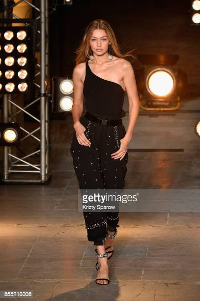 Model Gigi Hadid walks the runway during the Isabel Marant show as part of the Paris Fashion Week Womenswear Spring/Summer 2018 on September 28 2017...