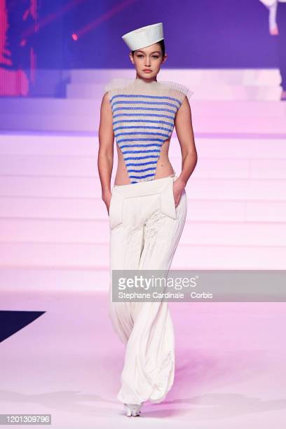 Model Gigi Hadid walks the runway during the Jean-Paul Gaultier Haute Couture Spring/Summer 2020 show as part of Paris Fashion Week at Theatre Du...