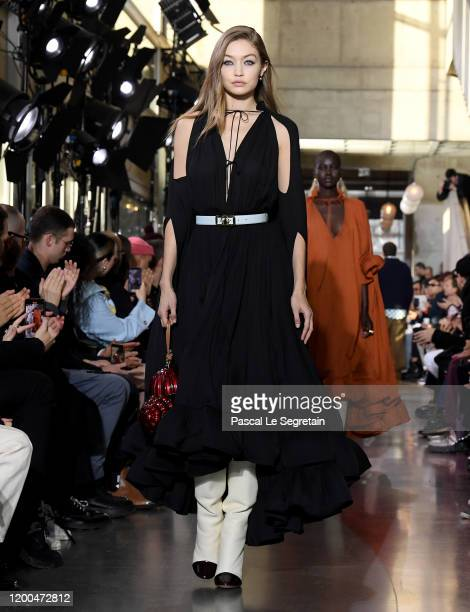 Model Gigi Hadid walks the runway during the Lanvin Menswear Fall/Winter 2020-2021 show as part of Paris Fashion Week on January 19, 2020 in Paris,...
