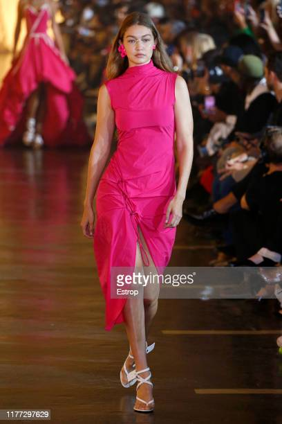 Model Gigi Hadid walks the runway during the Off-White Womenswear Spring/Summer 2020 show as part of Paris Fashion Week on September 26, 2019 in...