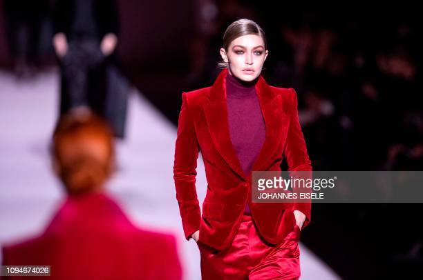 US model Gigi Hadid walks the runway during the Tom Ford fashion show at New York Fashion Week on February 6 2019 in midtown Manhattan New York City