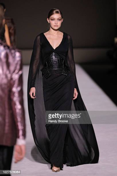Model Gigi Hadid walks the runway during the Tom Ford fashion show September 2018 at New York Fashion Week at Park Avenue Armory on September 5 2018...