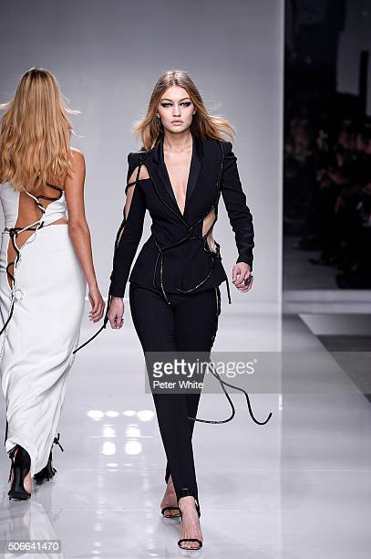 Model Gigi Hadid walks the runway during the Versace Spring Summer 2016 show as part of Paris Fashion Week on January 24 2016 in Paris France