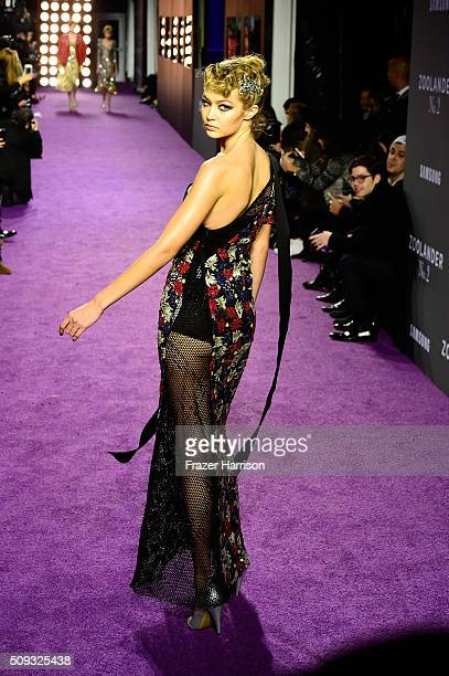 Model Gigi Hadid walks the runway during the 'Zoolander No 2' World Premiere at Alice Tully Hall on February 9 2016 in New York City
