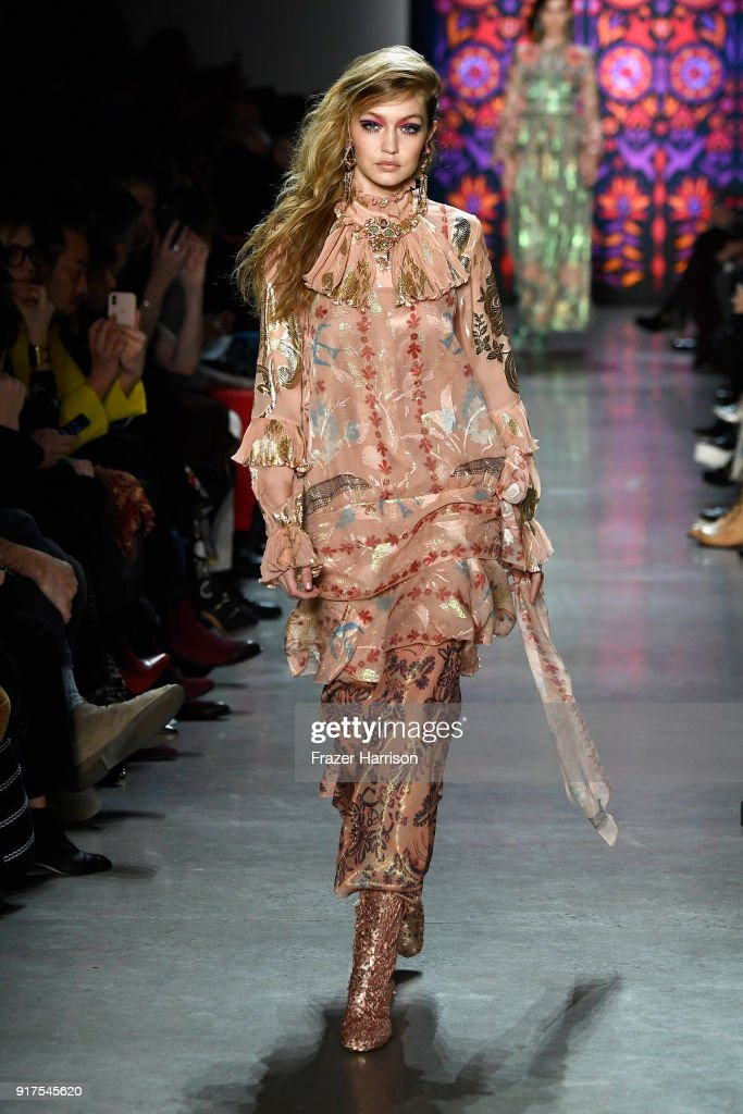 Model Gigi Hadid walks the runway for Anna Sui during New York Fashion Week: The Shows at Gallery I at Spring Studios on February 12, 2018 in New York City.