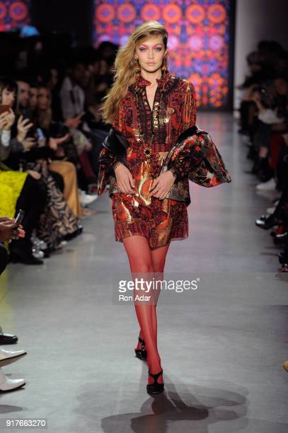 Model Gigi Hadid walks the runway for Anna Sui during New York Fashion Week The Shows at Gallery I at Spring Studios on February 12 2018 in New York...