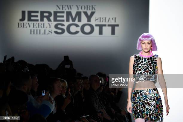 Model Gigi Hadid walks the runway for Jeremy Scott during New York Fashion Week The Shows at Gallery I at Spring Studios on February 8 2018 in New...