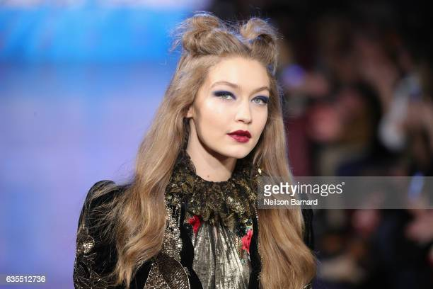 Model Gigi Hadid walks the runway for the Anna Sui collection during New York Fashion Week The Shows at Gallery 1 Skylight Clarkson Sq on February 15...