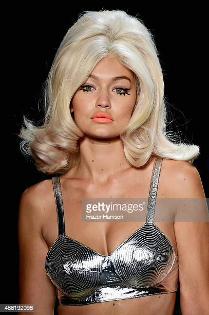 Model Gigi Hadid walks the runway wearing Jeremy Scott Spring 2016 during New York Fashion Week: The Shows at The Arc, Skylight at Moynihan Station...