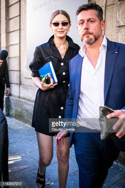 Model Gigi Hadid, wearing a black dress, is seen outside VALENTINO show during Paris Fashion Week - Haute Couture Fall/Winter 2019/2020 on July 03,...