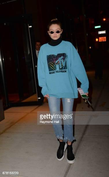 Model Gigi is seen walking in Soho on May 3 2017 in New York City