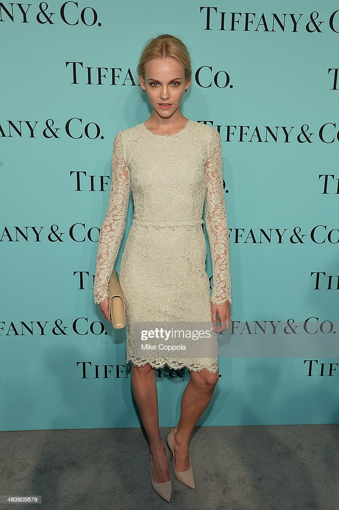 Model Ginta Lapina attends the Tiffany Debut of the 2014 Blue Book on April 10, 2014 at the Guggenheim Museum in New York, United States.