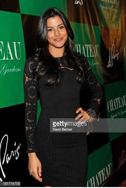 Model Gio Ott arrives at the Chateau Nightclub & Gardens at the Paris Las Vegas on April 2, 2011 in Las Vegas, Nevada.