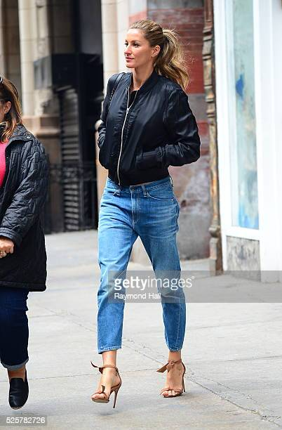 Model Gisele B��ndchen is seen walking out of ABC Kitchen Soho on April 28 2016 in New York City