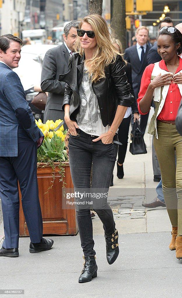 Model Gisele Bunbchen is seen outside 'Nello Restaurant'on April 11, 2014 in New York City.