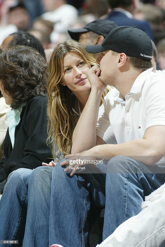 Model Gisele Bundchen and actor Leonardo DiCaprio watch the Miami Heat against the New Jersey Nets in Game four of the Eastern Conference Quarterfinals during the 2005 NBA Playoffs on May 1, 2005 at the Continental Airlines Arena in East Rutherford, New Jersey. The Heat won 110-97 to sweep the Nets 4-0 in the seven game series.