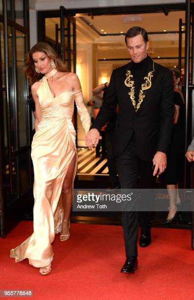 Model Gisele Bundchen and Football Player Tom Brady attend as The Mark Hotel celebrates the 2018 Met Gala at The Mark Hotel on May 7 2018 in New York...