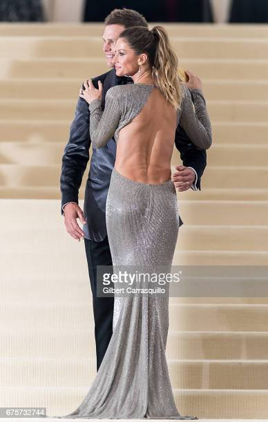 Model Gisele Bundchen and Football quarterback Tom Brady are seen at the 'Rei Kawakubo/Comme des Garcons Art Of The InBetween' Costume Institute Gala...