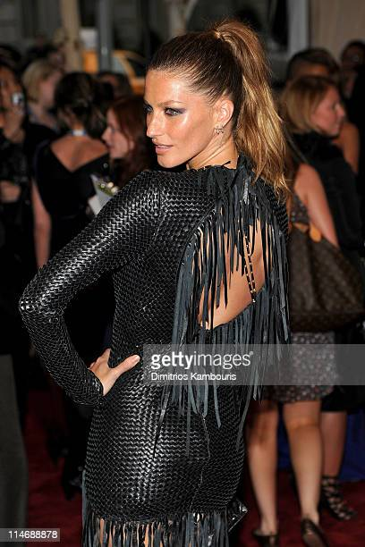 Model Gisele Bundchen attends the Costume Institute Gala Benefit to celebrate the opening of the 'American Woman Fashioning a National Identity'...