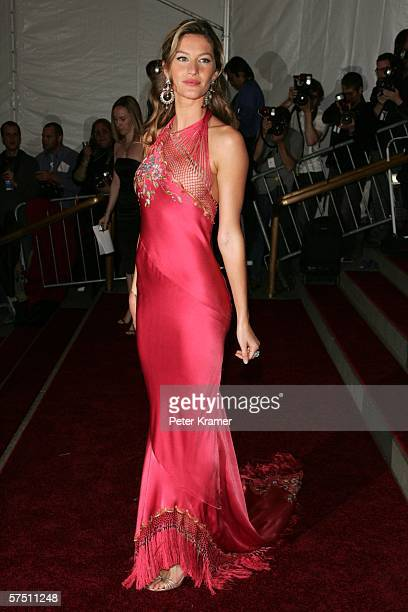 Model Gisele Bundchen attends the Metropolitan Museum of Art Costume Institute Benefit Gala Anglomania at the Metropolitan Museum of Art May 1 2006...
