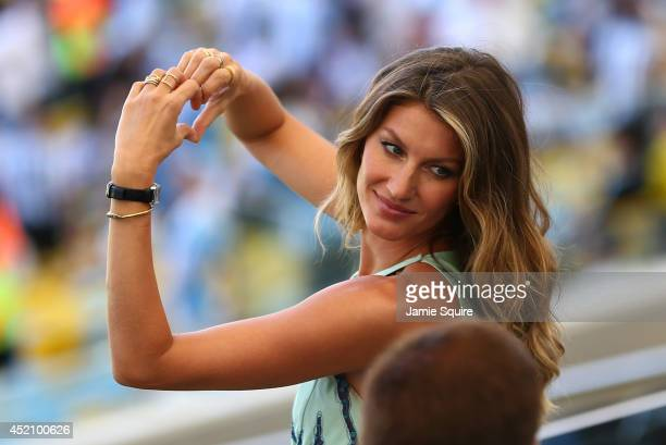 Model Gisele Bundchen looks on prior to the 2014 FIFA World Cup Brazil Final match between Germany and Argentina at Maracana on July 13 2014 in Rio...