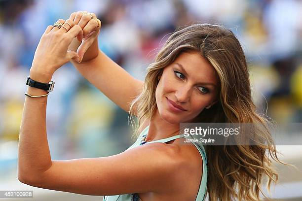 Model Gisele Bundchen looks on prior to the 2014 FIFA World Cup Brazil Final match between Germany and Argentina at Maracana on July 13, 2014 in Rio...