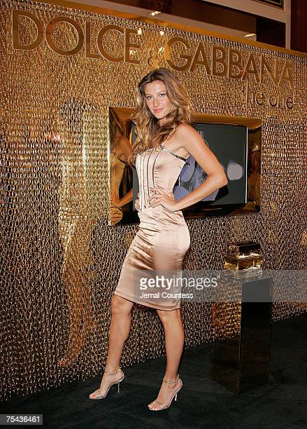 Model Gisele Bundchen makes an instore appearence at SAKS Fifth Avenue during the Dolce and Gabbana Launch of The One Fragrance by Dolce and Gabbana...