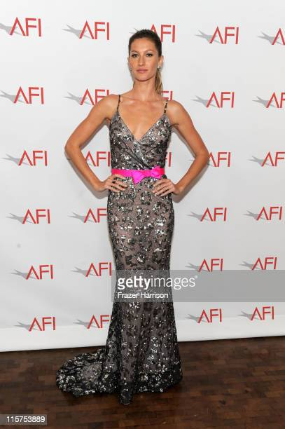 Model Gisele Bundchen poses at the 39th AFI Life Achievement Award honoring Morgan Freeman held at Sony Pictures Studios on June 9, 2011 in Culver...
