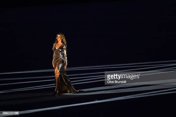 Model Gisele Bundchen takes part in the Opening Ceremony of the Rio 2016 Olympic Games at Maracana Stadium on August 5 2016 in Rio de Janeiro Brazil