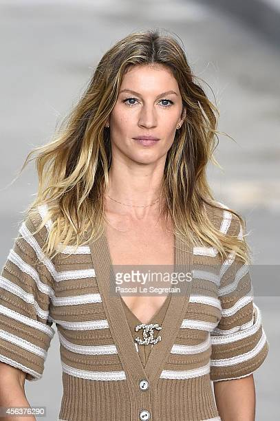 Model Gisele Bundchen walks the runway during the Chanel show as part of the Paris Fashion Week Womenswear Spring/Summer 2015 on September 30 2014 in...