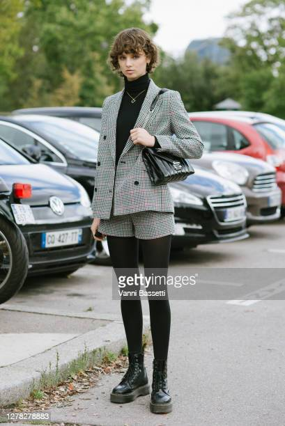 Model Giselle Norman poses after the Hermes show at the Tennis Club de Paris during Paris Fashion Week - Womenswear Spring Summer 2021 on October 03,...