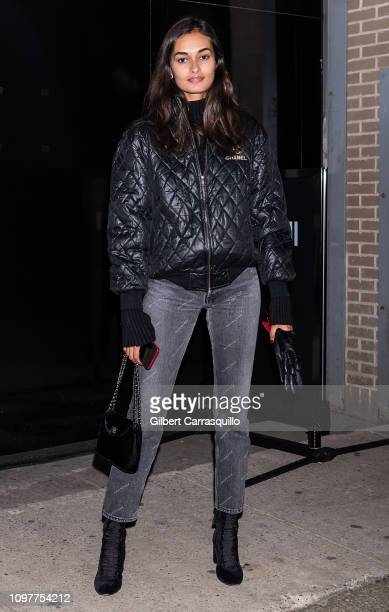 Model Gizele Oliveira is seen arriving to Laquan Smith fashion show during New York Fashion Week The Shows at Gallery II at Spring Studios on...