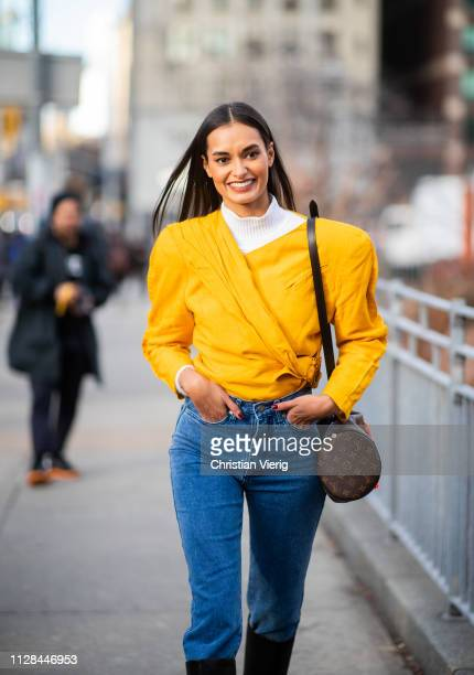 Model Gizele Oliveira is seen outside Cushnie during New York Fashion Week Autumn Winter 2019 on February 08 2019 in New York City